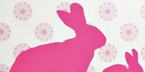 Pink, Rabbit, Rabbits and Hares, Hare, Wallpaper, Wall sticker, Design, Sticker, Easter bunny, Pattern,
