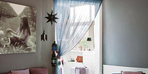 Interior design, Room, Textile, Home, Floor, Purple, Wall, Furniture, Interior design, Linens,