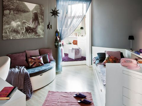 Interior design, Room, Textile, Home, Floor, Wall, Furniture, Living room, Interior design, Purple,