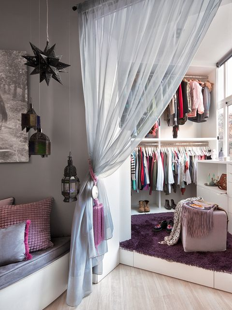 Room, Interior design, Textile, Pink, Floor, Interior design, Linens, Purple, Window treatment, Lavender,