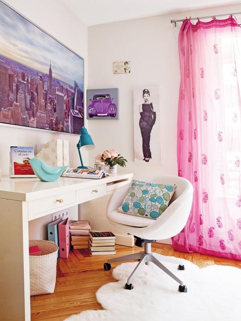 Interior design, Room, Textile, Purple, Floor, Pink, Wall, Interior design, Home, Teal,