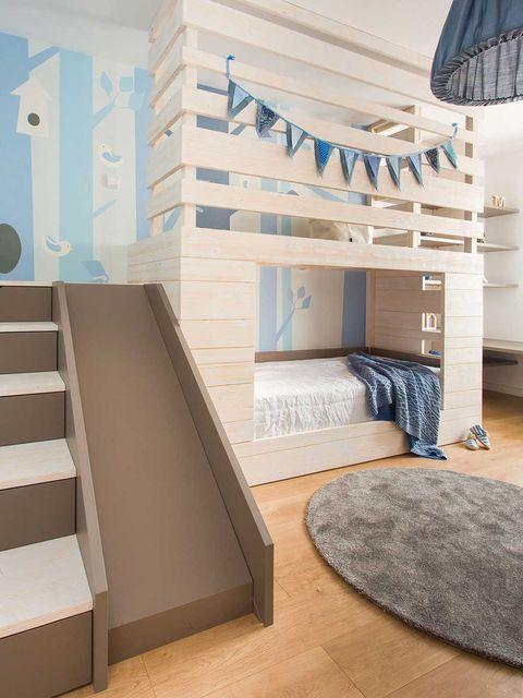 Interior design, Floor, Room, Flooring, Wall, Stairs, Interior design, Bed, Grey, Home,