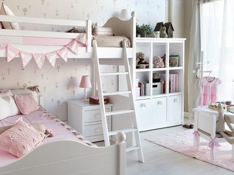 Room, Interior design, Wall, Pink, Furniture, Home, Shelving, Interior design, Cabinetry, Linens,