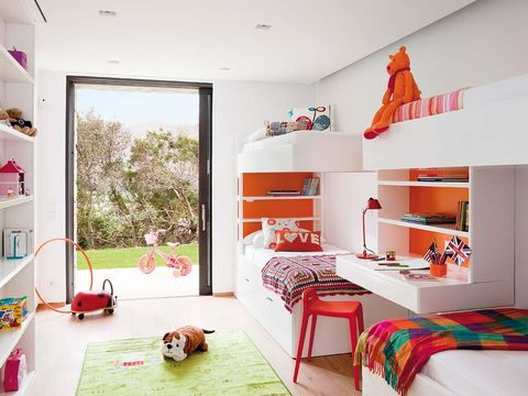 Room, Interior design, Home, Textile, Red, Wall, Floor, Shelving, Furniture, Pink,