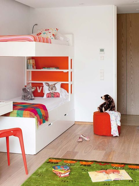 Room, Interior design, Flooring, Floor, Red, Home, Wall, Shelving, Shelf, Carnivore,