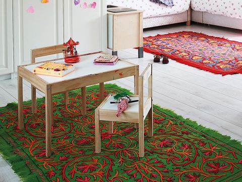 Room, Textile, Red, Interior design, Furniture, Flooring, Floor, Table, Linens, Carpet,
