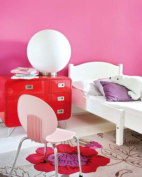 Room, Interior design, Drawer, Chest of drawers, Floor, Red, Furniture, White, Pink, Wall,