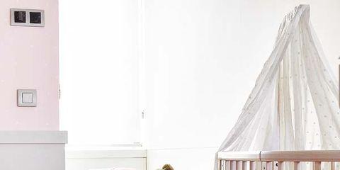 Wood, Product, Room, Interior design, Home, Infant bed, Floor, Furniture, Pink, Flooring,