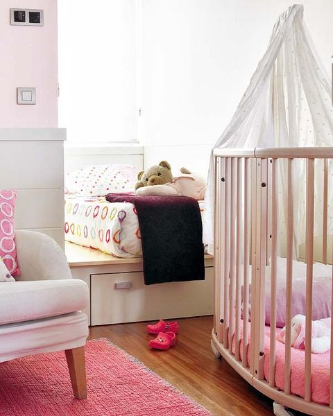 Wood, Product, Room, Interior design, Home, Infant bed, Floor, Furniture, Pink, Flooring,
