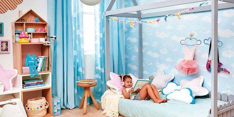 Furniture, Room, Bed, Turquoise, Aqua, Bedroom, Bed sheet, Interior design, Nursery, House,
