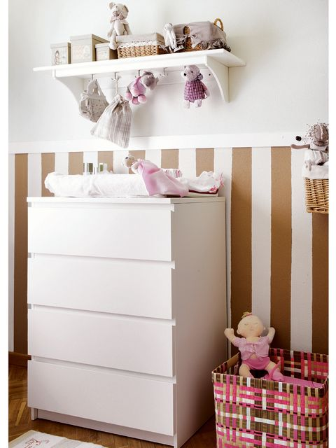 Wood, Room, White, Interior design, Pink, Wall, Cabinetry, Chest of drawers, Basket, Drawer,
