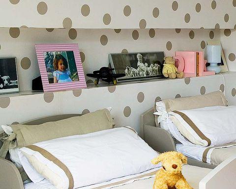 Room, Interior design, Yellow, Textile, Wall, Bedding, Pink, Linens, Bedroom, Interior design,