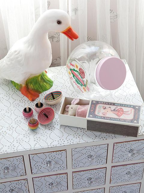 Pink, Bird, Beak, Ducks, geese and swans, Water bird, Peach, Box, Toy, Waterfowl, Household supply,