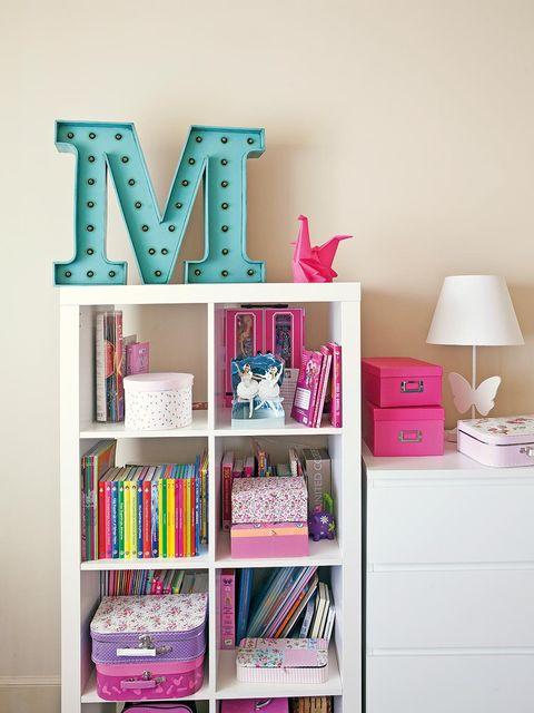 Room, Shelving, Shelf, Pink, Magenta, Furniture, Interior design, Purple, Interior design, Violet,