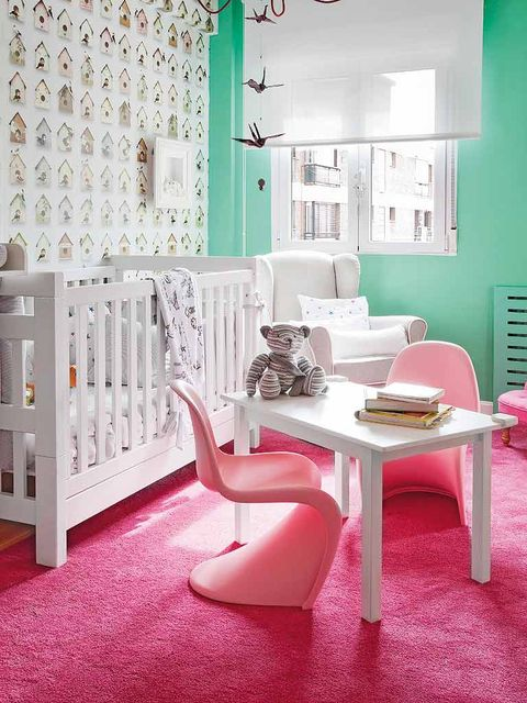 Room, Floor, Interior design, Green, Flooring, Home, Table, Pink, Wall, Interior design,