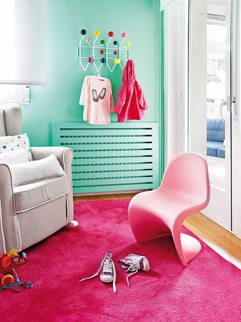 Blue, Interior design, Room, Floor, Green, Flooring, Red, Wall, Teal, Turquoise,