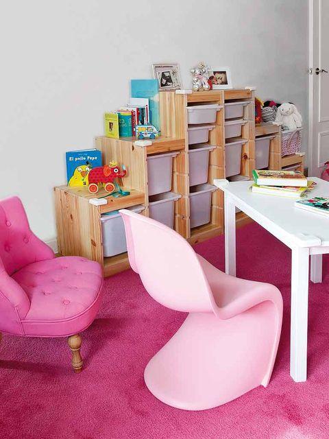 Room, Furniture, Interior design, Pink, Table, Home, Peach, Shelving, Design, Desk,