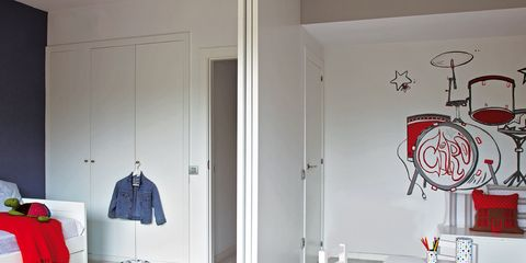 Room, Interior design, Floor, Furniture, Red, Wall, Flooring, Linens, Interior design, Ceiling,