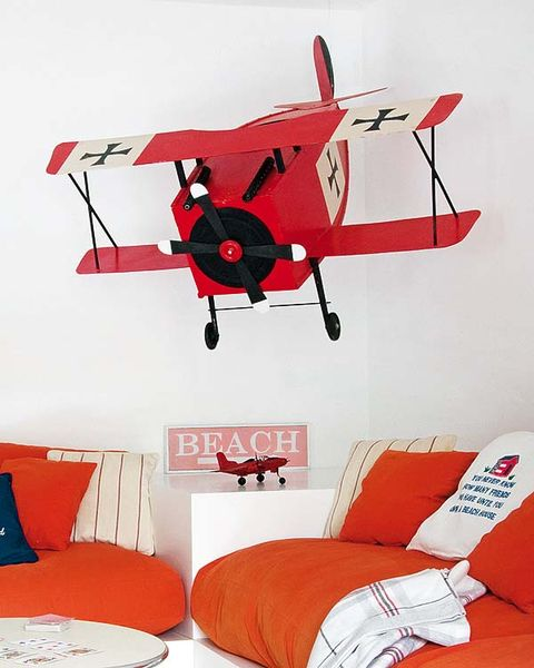 Product, Room, Red, Interior design, Textile, Orange, Wall, Aircraft, Bedding, Linens,