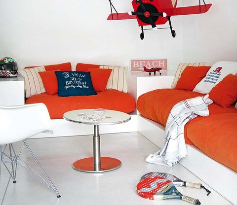 Interior design, Room, Red, Living room, White, Furniture, Wall, Couch, Floor, Interior design,
