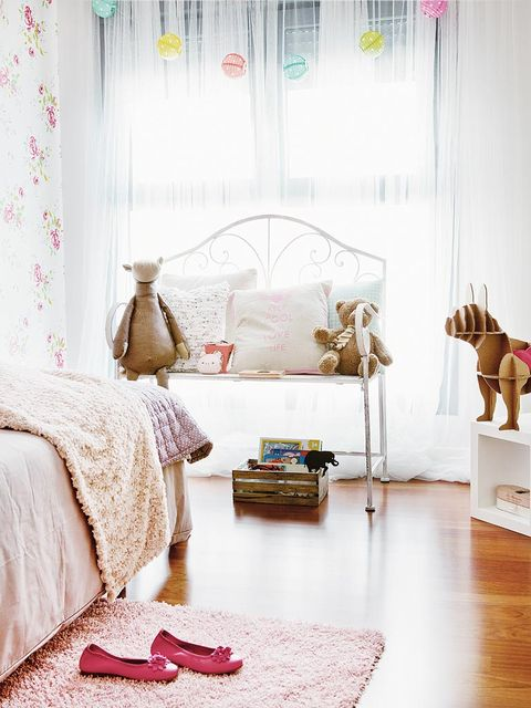Interior design, Room, Textile, Pink, Linens, Bed, Floor, Interior design, Home, Flooring,