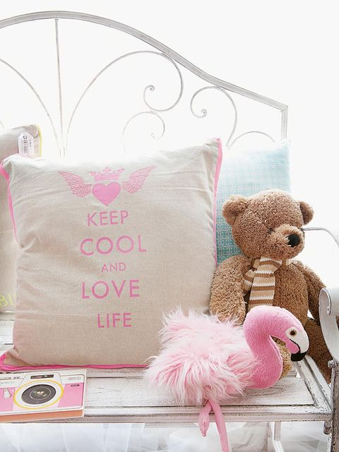 Textile, Pink, Toy, Throw pillow, Home accessories, Linens, Cushion, Stuffed toy, Pillow, Creative arts,