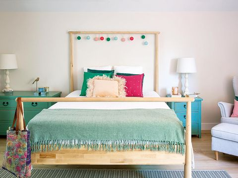 Bedroom, Bed, Furniture, Room, Bed sheet, Bed frame, Turquoise, Interior design, Property, Nightstand,