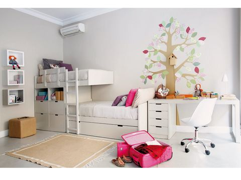 Room, Interior design, Wall, Pink, Furniture, Interior design, Floor, Home, Grey, Shelving,