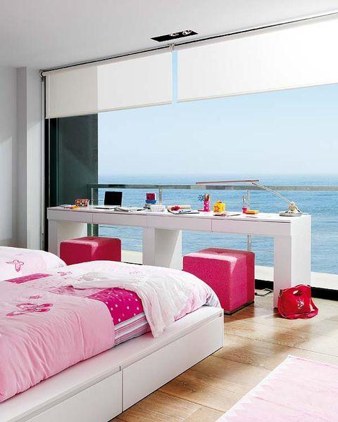 Room, Interior design, Bed, Textile, Floor, Wall, Flooring, Pink, Linens, Bedroom,