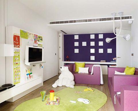 Interior design, Room, Floor, Wall, Flooring, Interior design, Purple, Ceiling, Space, Home,