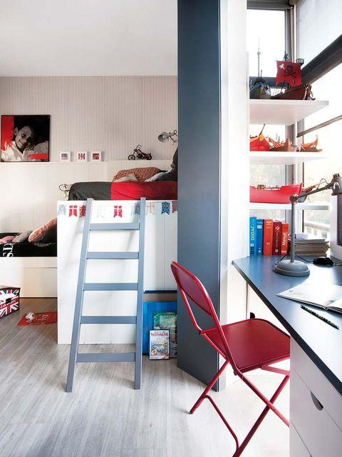 Room, Interior design, Floor, Red, Flooring, Furniture, Interior design, Kitchen appliance, Home, Drawer,