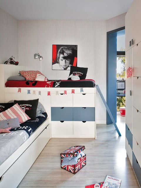 Interior design, Room, Red, Interior design, Cabinetry, Home, Drawer, Cupboard, Display device, Chest of drawers,