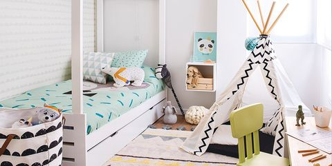 Room, White, Furniture, Product, Blue, Bedroom, Interior design, Turquoise, Bed, Yellow,