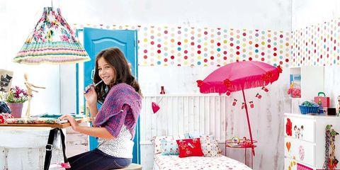 Room, Textile, Pink, Furniture, Interior design, Linens, Magenta, Lamp, Bedroom, Bedding,