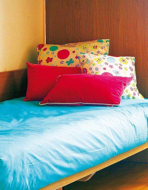 Blue, Room, Textile, Interior design, Pillow, Cushion, Linens, Wall, Bedding, Orange,
