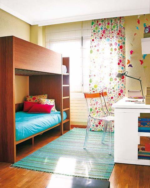 Room, Interior design, Green, Floor, Bed, Textile, Flooring, Wall, Furniture, Linens,