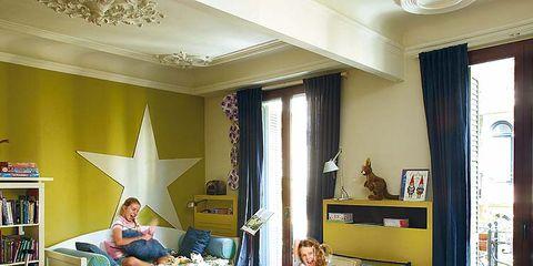 Room, Interior design, Green, Living room, Home, Furniture, Table, Interior design, Lamp, Ceiling,