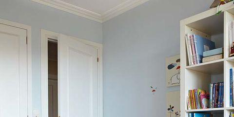 Room, Door, Shelf, Shelving, Display device, Flooring, Television set, Interior design, Floor, Home door,