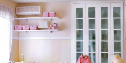 Room, Interior design, Textile, Furniture, Bedding, Floor, Pink, Bed, Linens, Wall,