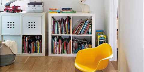 Shelf, Room, Furniture, Shelving, Yellow, Interior design, Turquoise, Property, Floor, Wall,