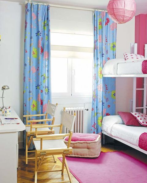 Room, Furniture, Curtain, Interior design, Pink, Bedroom, Property, Living room, Decoration, Yellow,