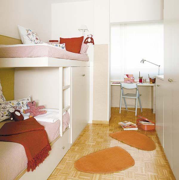 Dormitorio infantil con literas tipo tren
