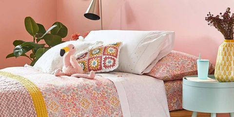 Furniture, Bed sheet, Bedding, Bed, Orange, Room, Bedroom, Pink, Pillow, Textile,