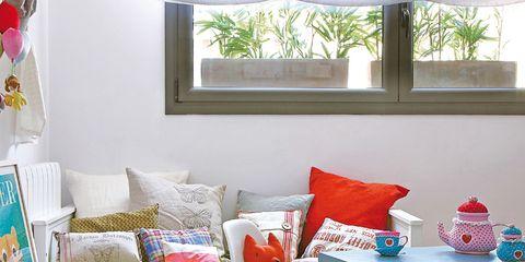 Room, Interior design, Furniture, Home, Living room, Red, Interior design, Table, Throw pillow, Pillow,
