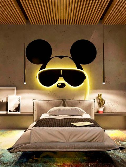 Bedroom, Room, Interior design, Furniture, Yellow, Lighting, Bed, Eyewear, Lighting accessory, Ceiling,