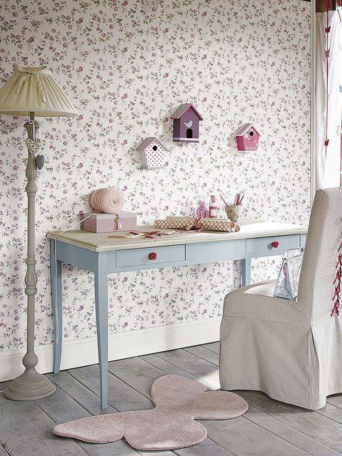 Room, Interior design, Textile, Floor, Wall, Pink, Furniture, Interior design, Linens, Grey,