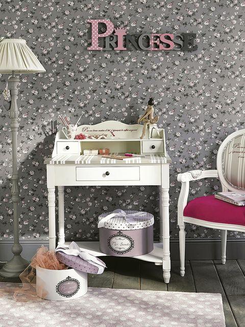 Room, Furniture, Interior design, Grey, Interior design, Drawer, Lamp, Chest of drawers, Lampshade, Wallpaper,