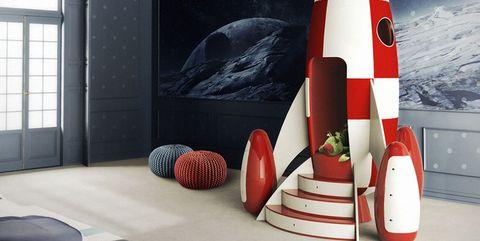Room, Ceiling, Cone, Space, Design, Interior design, Flag, Wallpaper, Living room, Rocket,