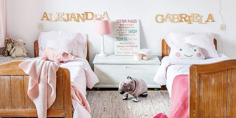 Furniture, Room, Pink, Bedroom, Product, Bed, Wall, Bed sheet, Interior design, Bedding,