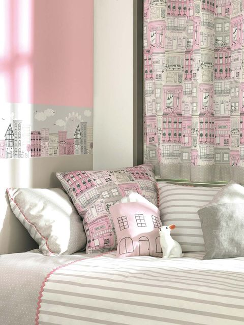 Interior design, Room, Textile, Wall, Pink, Bedding, Linens, Cushion, Pillow, Bedroom,